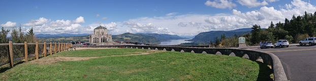 Crown Point Vista House, Oregon  - Panorama. A panoramic image of the Crown Point Vista House with a view of the Columbia River Gorge in the background. Vista Stock Photo