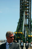 Crown Prince of Belgium Philippe At The Launch Pad. At Baikonur cosmodrome, Kazakhstan, 2.5 hours before the launch of Soyuz spaceship with crewmembers Roman Stock Image