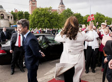 Crown Prince Frederik of Denmark and Princess Mary. Szczecin, Poland - Mai 14, 2014: Denmark Prince Frederik and Princess Mary visit in Poland. Princess greets Stock Photo