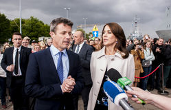 Crown Prince Frederik of Denmark and Princess Mary. Szczecin, Poland - Mai 14, 2014: Denmark Prince Frederik and Princess Mary visit in Poland. Press conference Royalty Free Stock Photography