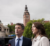 Crown Prince Frederik of Denmark and Princess Mary. Szczecin, Poland - Mai 14, 2014: Denmark Prince Frederik and Princess Mary visit in Poland. Press conference Royalty Free Stock Photos
