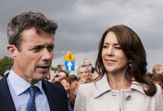 Crown Prince Frederik of Denmark and Princess Mary. Szczecin, Poland - Mai 14, 2014: Denmark Prince Frederik and Princess Mary visit in Poland. Press conference Royalty Free Stock Images