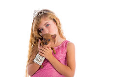 Crown princess blond girl with puppy chihuahua Royalty Free Stock Photography