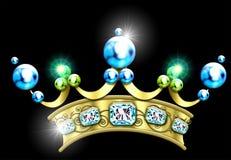 crown prytt med ädelsten glamoröst Arkivbilder
