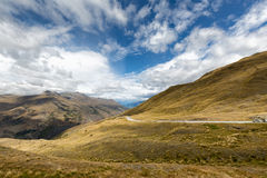 Crown range in new zealand. The Crown Range lies to the east of the Wakatipu Basin in Otago, New Zealand. it is one of the most beautiful road in new zealand Stock Photography
