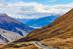 Crown Range Road near Queenstown in Southern Lakes, New Zealand Stock Photos