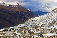 Crown range road wanaka to queenstown new zealand Royalty Free Stock Image