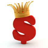 Crown on red dollar sign(5) Royalty Free Stock Image