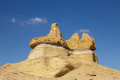 Crown Rock. Rock formations in the desert of Wadi Hitan in a crown shape Royalty Free Stock Photo