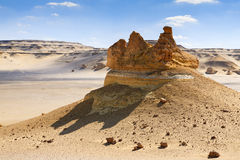 Crown Rock. Rock formations in the desert of Wadi Hitan in a crown shape Royalty Free Stock Photography