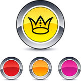 Crown round button. Crown glossy round web buttons royalty free illustration