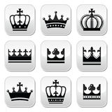 Crown, royal family buttons set Royalty Free Stock Image