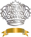 Crown and Scroll Vector Illustration. Eps Stock Image