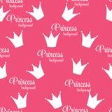 Crown Seamless Pattern Background公主传染媒介例证。 免版税库存图片