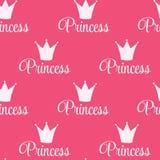 Crown Seamless Pattern Background公主传染媒介例证。 库存图片