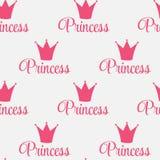 Crown Seamless Pattern Background公主传染媒介例证。 免版税图库摄影