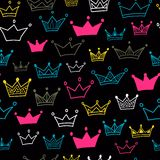 Crown  seamless pattern on black background. Bright crowns. Vector illustration. Endless pattern. Royalty Free Stock Photos