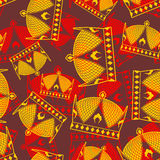 Crown seamless pattern. emperor Royal texture.  Stock Images