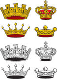 Crown set. Various noble crown, various shapes, in color and black and white Royalty Free Stock Photo