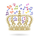 Crown with sheet music Stock Photos
