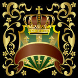 Crown and shield. Illustration of crown and shield Royalty Free Stock Images