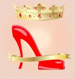 Crown and shoe. On an abstract background of a big red female shoe, above it there is a large gold crown with red jewels Royalty Free Stock Image