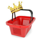 Crown on the shopping basket. Isolated render on a white background Royalty Free Stock Photography