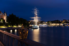 The crown on Skeppsholmen bridge. Stockholm. Sweden. 03.08.2016. Skeppsholmen bridge laid across the Strait of Riddarfjärden and connects the two islands in stock photography