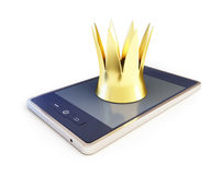 Crown with a smartphone on white background Stock Image