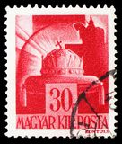 Crown of St. Stephen, Characters and Relics of Hungarian History serie, circa 1943. MOSCOW, RUSSIA - MARCH 23, 2019: Postage stamp printed in Hungary shows Crown stock photos