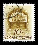 Crown of St. Stephen, Church in Hungary serie, circa 1939. MOSCOW, RUSSIA - FEBRUARY 9, 2019: A stamp printed in Hungary shows Crown of St. Stephen, Church in royalty free stock photo