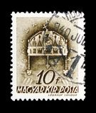 Crown of St. Stephen, Church in Hungary serie, circa 1939. MOSCOW, RUSSIA - FEBRUARY 10, 2019: A stamp printed in Hungary shows Crown of St. Stephen, Church in royalty free stock photo