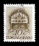 Crown of St. Stephen, Church in Hungary serie, circa 1939. MOSCOW, RUSSIA - FEBRUARY 10, 2019: A stamp printed in Hungary shows Crown of St. Stephen, Church in stock images