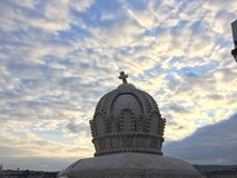 Crown statue with beautiful sky. With clouds in the background stock images
