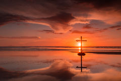 Crown & Sword Sunset Cross Royalty Free Stock Images
