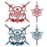 Crown and swords crests collection Royalty Free Stock Image