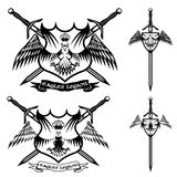 Crown and swords crests collection Royalty Free Stock Images