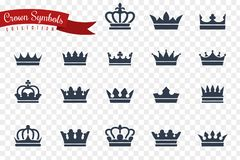 Crown symbols. King queen crowns monarch imperial coronation princess tiara crest luxury royal jewel winner award flat