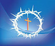 Crown of thorns. Illustration of crown ofthorns and christian cross Royalty Free Stock Photo
