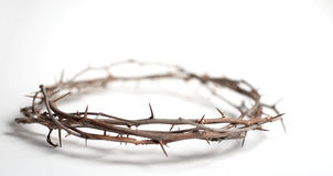 Crown of Thorns. A crown of thorns with copy space. Photographed on plain background with very shallow depth of field Stock Photos