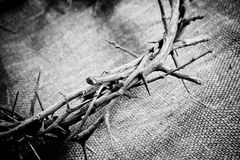 Crown of thorns. A crown of thorns on fabric background stock photography