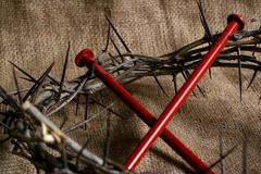 Crown of Thorns. Christian crown of thorns and nails Stock Image