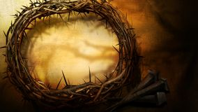 Crown of Thorns. Llustrated crown of thorns and 3nails stock photos