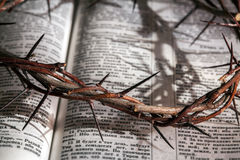 This is a crown of thorns. On the Bible royalty free stock images