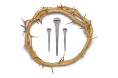 Crown of thorns with 3 nails Royalty Free Stock Photos