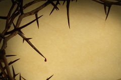 Crown Of Thorns Background Good Friday. This Crown of Thorns with drop of blood against parchment paper represents Jesus's Crucifixion on the Cross, dying and Royalty Free Stock Photography