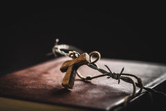 Crown of thorns,bible and crucifix Stock Photos