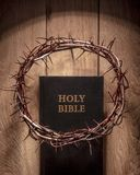 Crown of thorns and bible stock photo