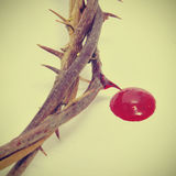 Crown of thorns and blood. Closeup of a representation of the crown of thorns and blood of Jesus Christ Royalty Free Stock Photos