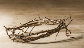 Crown of thorns with blood dripping. Royalty Free Stock Images